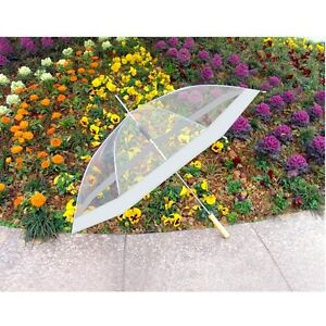 """SET OF 2:  48"""" Clear Auto Open Golf Umbrellas, All Clear or Clear & White"""