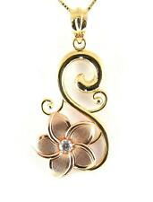 14K PINK ROSE GOLD HAWAIIAN PLUMERIA FLOWER YELLOW GOLD DESIGN PENDANT