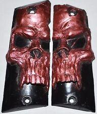 Llama 45 ACP Max1 - C/F pistol grips russet skull on black plastic