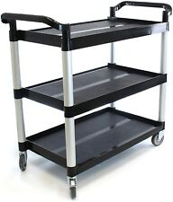 Small Heavy-Duty 3-Shelf Rolling Service/Utility/Push Cart. 170 lbs.