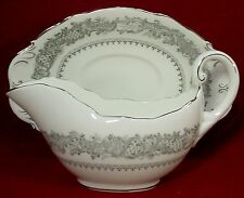 COALPORT china SILVER WEDDING pattern 2-piece GRAVY BOAT & Detached Underplate