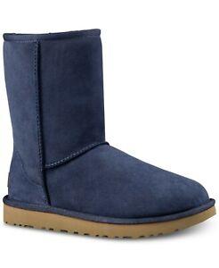 UGG Australia Classic Short II Suede Sheepskin Boots 7 MED Navy Blue  #1016223