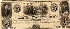 1835 BANK OF WASHTENAW MICHIGAN $3 OBSOLETE BROKEN BANK NOTE