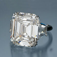 6.46 Ct Near White Emerald Moissanite Engagement Party Ring 925 Sterling Silver