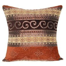 Brown with Dull Gold Pattern Ethnic Traditional Cushion Covers For Sofa Bed