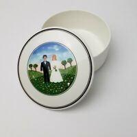 "Villeroy & Boch Naif Wedding Design 4"" Trinket Box Candy Dish w Lid Bride Groom"