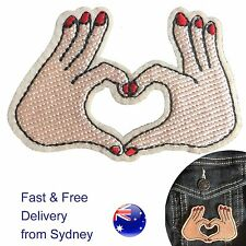 Heart hand gesture iron on patch -  love symbol embroidery heat iron-on patches