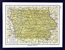 c. 1925 Encyclopedia Britannica Map - Iowa - Des Moines Sioux City Cedar Rapids