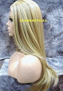 Human Hair Blend Hand Tied Lace Front Full Wig Layered Long Medium Blonde Mix
