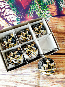 6 Hand Painted Glass Baubles Christmas Tree Decorations 80 mm /8cm,high quality!