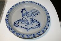 """Eldreth Pottery Salt Glaze Rooster Pie Dish Plate dated 1993  11"""""""