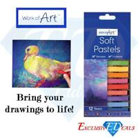 12 Pack Artists Soft Pastels Half Stick Assorted Colours Art Craft Colouring Set