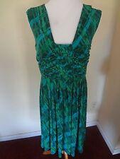 Calvin Klein 6 Green Teal Aqua Geometric Print Pleat Detail Jersey Career Dress