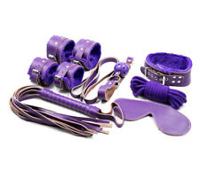 Adult-Sex-SM-Toys-Handcuffs-Cuffs-Strap-Whip-Rope-Neck-Bandage-Game-7pcs Purple