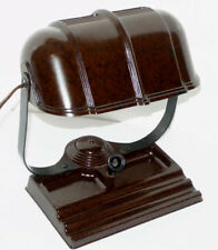 VINTAGE 1940s BROWN BAKELITE BANKERS DESK LAMP! PEN HOLDER/PEN REST/COMPARTMENTS