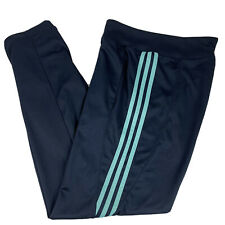 Adidas Women's Size Small Athletic Pants Navy Blue Aqua Pipes Bootcut ATS Dry