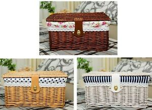 Creative Bamboo Woven Storage Basket Clothes Sundries Lidded Lock Home Organizer