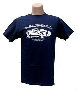 Gearhead Brand Mens T Shirt Leadfoot Navy Blue Size Small Hot Rods Kustoms Cars