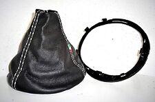 FIAT 500 cuffia cambio vera pelle nera cuciture bianche + cornice plastica