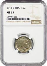 1913-S 5c NGC MS63 (Type 1) Buffalo Nickel