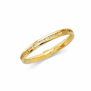 14k Yellow Gold Diamond Eternity Band Stackable Ring Endless Wedding Band