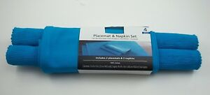 Placemat & Napkins Set - 2 Placemats 2 Napkins Table Ware Linens Blue A2 #182