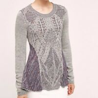 Moth Anthropologie Anita Swing Sweater Top Zipper Back Cable Knit Size Large L