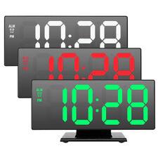 USB Digital LED Clock Snooze Mirror Alarm Clock Time Night 12 h / 24 h Display