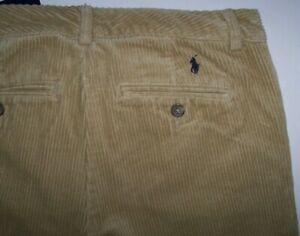 NWT Polo Ralph Lauren Khaki Corduroy Cord Flat-Front Pants Boys 14 NAVY PONY