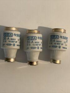 3 X SIBA 35A DIII Diazed Fuse, E33 Thread Size, gR, 500 V ac RS 421-520 BOTTLE