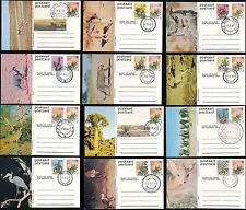 SOUTH WEST AFRICA 1977 ILLUSTRATED STATIONERY CARDS WILDLIFE VFU CTO...12 items