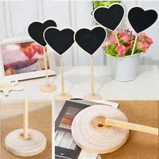 10* Mini Wooden Heart  Blackboard Chalk Boards Craft Home Potted Wedding Decor