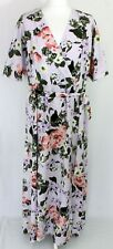 French Connection Floral Lilac Short Sleeve Summer Party Long Faux Wrap Dress 16
