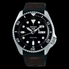 NEW Seiko 5 Sports 100M Automatic Men's Leather Strap Watch Black Bezel Dial
