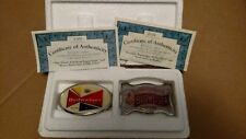 Budweiser Beer Belt Buckle Set Bradford Exchange W/COA