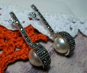 My S Collection 925 Sterling Silver & Marcasite Pearl Art Deco Drop Earrings
