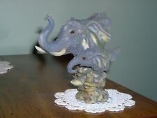 RARE - MOTHER AND BABY ELEPHANT HEADS FIGURINE - NEW IN OPENED BOX