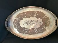 Antique E.G. Webster & Son Large Ornate Silverplate Oval Serving Tray