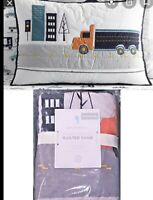 "Pottery Barn Kids QUILTED PILLOW SHAM Standard Cover Things That Go Truck ""New"""