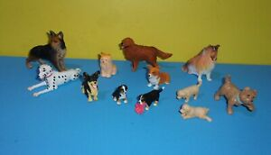 Miniature Dog PVC Figures Lot of German Shepard Collie Mountain Dog Dalmatian