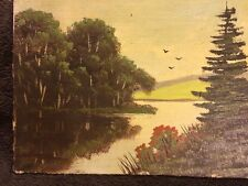 Antique Original Oil Painting Landscape Wall Art Old trees pine Canvas Board