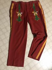 Red Masons Masonic Vintage Guard Uniform Pants Embroidered Wool 42