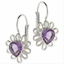 925 Silver Heart Amethyst Flower Leverback Earrings