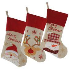 Set of 3 Burlap Christmas Stockings Holiday Rustic Santa, Snowman & Reindeer