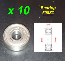 10 x Deep Groove Ball Bearing 608ZZ Roulement à Billes 8 x 22 x 7mm 608ZZ
