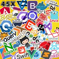 45 x Premium Quality Programming Lang Developer Coder Set Stickers Paper Vinyl