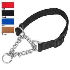 Dog Martingale Collar Adjustable Nylon Chain Choke Check Collar for Pet Training