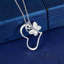 Silver Heart Pendant 925 Sterling Silver Flower Charm Necklace Fashion Jewelry