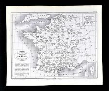 1877 Vorzet Map - French Bishoprics & Archbishoprics - France Catholic Cathedral