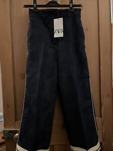 Zara navy High Waist Culotte Trousers Side Stripes. Size XS Brand New With Tags